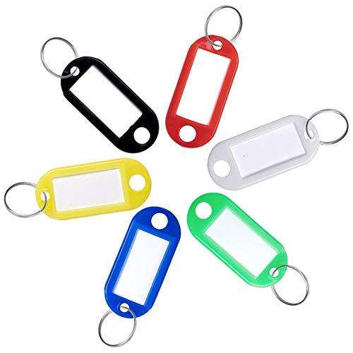 Koogel Schlüsselanhänger Beschriftbar, 48 Stück Schlüsselschilder Etiketten Schlüsselanhänger zum Beschriften mit Ring