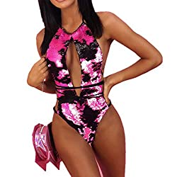 Hot Pink Swimming Sequins Bandage Push-Up Padded Bra One Piece