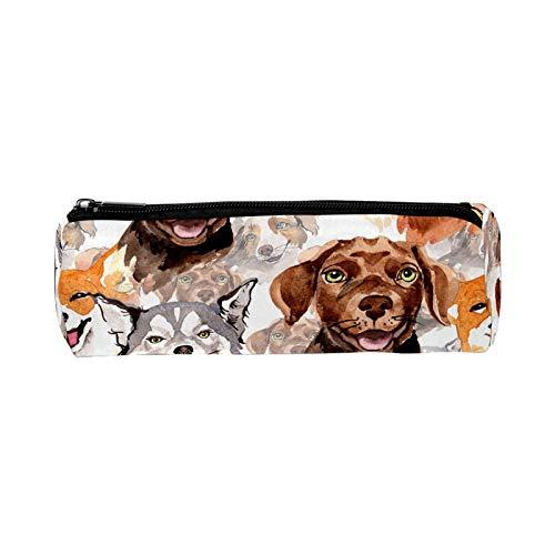Lindo cachorro perro Alaska Labrador escuela oficina lápiz estuche redondo para adolescentes niños niñas niños ligero cremallera papelería bolsa durable lápiz bolsa bolsa de gran capacidad cosméticos