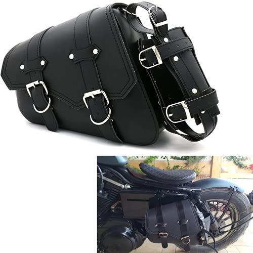 Motorcycle Saddle Bag with Cup Pocket Holder - Universal Motorcycle Tool Bag with Straps, PU Leather Waterproof Black Vintage Storage Side Bag(Left Side)