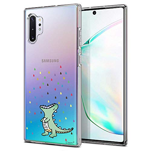 Unov Galaxy Note 10 Plus Case Clear with Design Soft TPU Shock Absorption Slim Protective Galaxy Note 10 Plus/Note 10 Plus 5G Case Embossed Pattern (Rainbow Dinosaur)