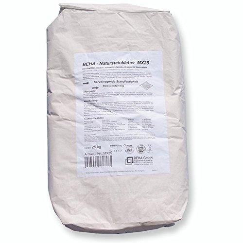 BEHA Natursteinkleber MX25, Fliesenkleber, Dünnbettkleber   25kg für Naturstein, Marmor, Granit