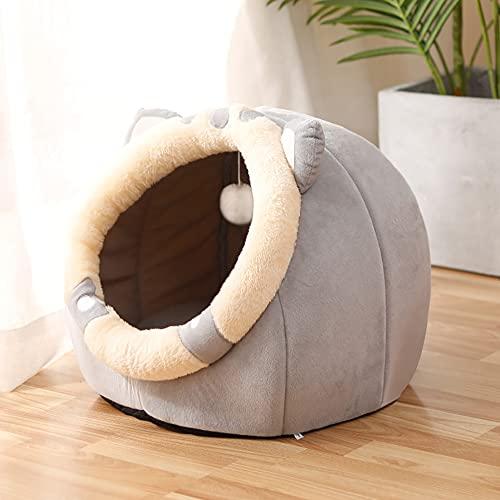 Souarts Katzenhöhle Katzenbett Flauschig, Kuschelhöhle für Katzen Kätzchen Hund Kaninchen, Katzenschlafplatz Katzenbett Flauschig für Drinnen, Rosa Grau Braun(Katzengrau,M 37x39x30cm)