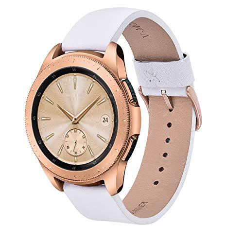V-MORO Correa de repuesto para reloj inteligente deportivo Para Samsung Gear Sport S2, 20 mm, de piel auténtica suave, para Samsung SM-R600 Gear Sport [Blanco]