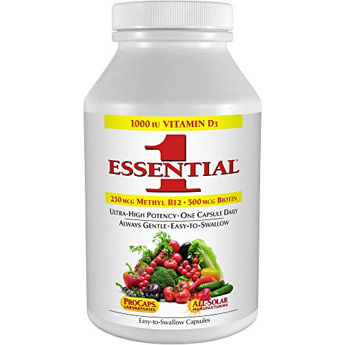 Andrew Lessman Essential-1 Multivitamin 180 Small Capsules 1000 IU Vitamin D3. 250 mcg Methyl B12. Lutein Lycopene Zeaxanthin. 24+ Nutrients. High Potency. No Additives. Ultra-Mild Only One Cap Daily
