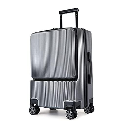 SGCDKSP Equipaje de apertura lateral de negocios para hombres y mujeres, equipaje de contraseña universal con ruedas, equipaje expandible, cremallera, gris, 22 pulgadas