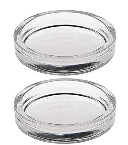 2 x - Kerzenhalter für Stumpenkerzen, Glas rund Ø 100 mm 20 mm glasklar (2er Set)