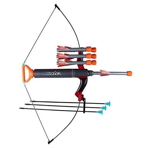 Divertido juego de juguete de tiro con arco de cañón de aire con arco y flecha, 9 piezas de material ABS seguro, kit de tiro con arco para principiantes, equipo de juguete de entrenamiento