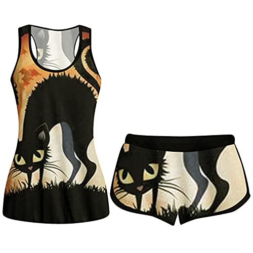 Halloween Two Piece Outfits Plus Size for Women Shorts Funny Pumpkin Black Cat Graphic Print Sleevelesss Tops Pjs Gift