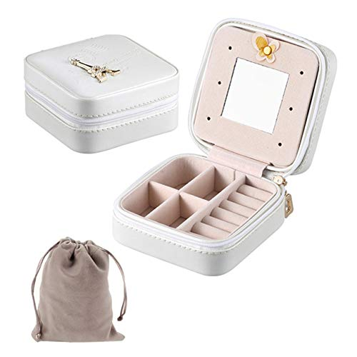 OCTORBER Small Jewelry Organizer Display Case for Earrings Rings Necklace Bracelet Watch Lipstick Storage Faux Leather Portable Small Jewelry Case Box for Girls Women Travel White