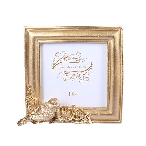Vosarea - Marco de Fotos de Resina con diseño de pájaros y Flores Decorativo, Marco de Fotos de Oficina para salón o Dormitorio, decoración (Ojo Cuadrado de 4 Pulgadas)