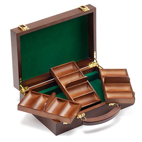 GSE Games & Sports Expert 300/500 Capacity Premium Solid Wood Poker Chip Case ONLY. Casino Wooden Poker Chip Case with Wooden Chip Trays (300 Pieces - Walnut)