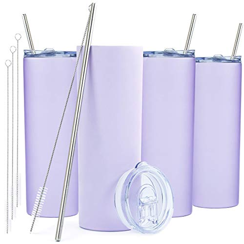 SKINNY TUMBLERS (4 pack) 20oz Stainless Steel Double Wall Insulated Tumblers with Lids and Straws   Skinny Travel Mug, FREE Straw Cleaner! Reusable Cup With Straw   Vinyl DIY Gifts (Lavender)
