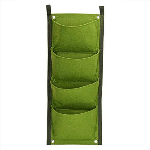 Homeriy Macetero de Jardín de Pared Vertical de 4 Bolsillos Bolsas de Plantas de Pared Jardín Interior Al Aire Libre (Verde)