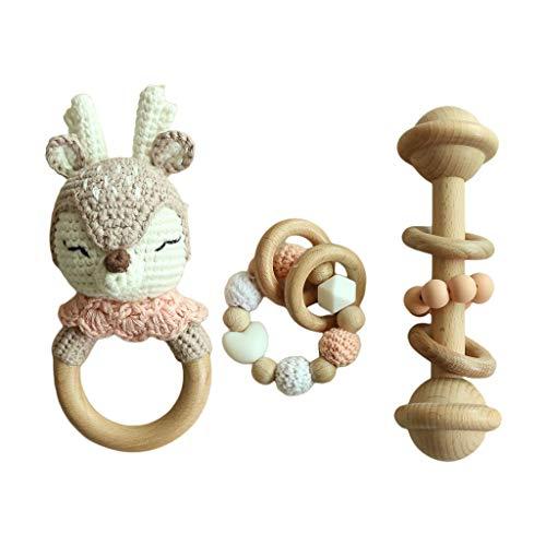 YOURPAI 3 Unids/Set Pulseras para la dentición del bebé Crochet Elk Chupete Sonajero de Madera Juguetes para mordedores