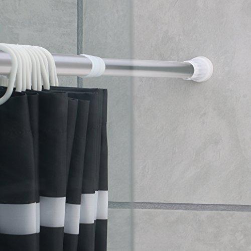 Ribelli Duschvorhangstange aus Aluminium von ca.110-200 cm ausziehbar -Teleskopstange ohne Bohren anbringen-Halterung für Duschvorhänge, Gardinen, Handtücher