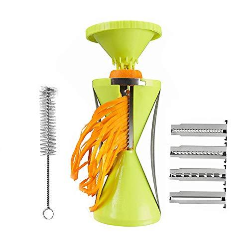 Spiralizer Vegetable Slicer, Handheld Steel Peeler Stainless Rotate Vegetable Cutter Slicer Chopper for Fruit Cutter Carrot Cucumber Noodle,Green