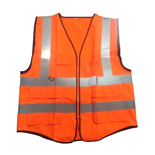 VORCOOL Chaleco Reflectante de Seguridad Chaleco Naranja de Alta Visibilidad con Bolsillos y Cremallera Talla L