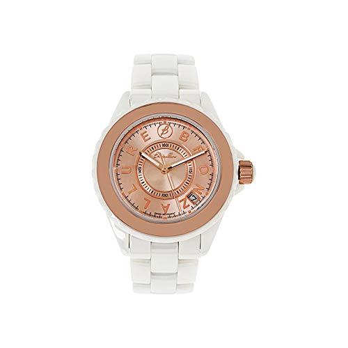bronzallure Mujer Reloj Oro Rosa Analógica Acero Inoxidable Correa de cerámica Blanca