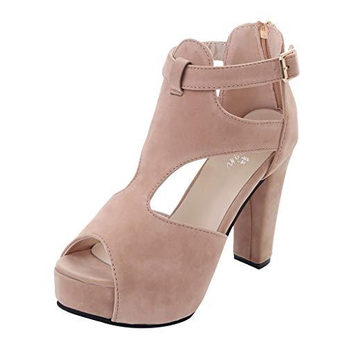 MEIbax Damen Plateau Pumps Peep Toe Knöchelriemen High Heel Sandalen Casual Schuhe Party Freizeit Hochzeit Abend Sommer Schuhe,11cm,35-39