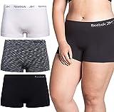 Reebok Women's Underwear – Plus Size Seamless Boyshort Panties (3 Pack), Size 3X, Black and White SpaceDye/White/Black