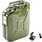 AMZOSS 20L 5 Gallon Metal Gas Can Green with Fuel Can and Spout System, US Standard Cold-Rolled Plate Petrol Diesel Can - Gasoline Bucket (13.78' x 6.5' x 17.91')