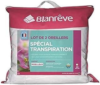Blanreve Lot de 2 Oreillers Spécial Transpiration - 60 x 60 cm - Blanc