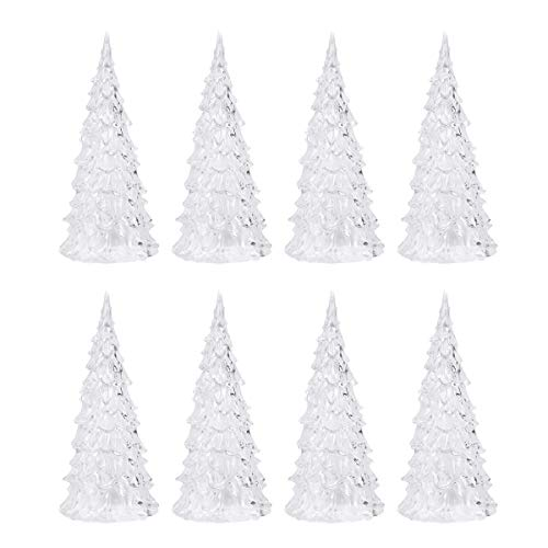 YeahiBaby 8pcs LED Light Up Christmas Tree Mini Xmas Night Light Christmas Ornaments Decoration