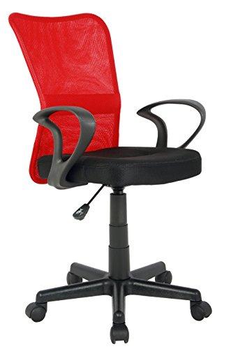SixBros. Bürostuhl,Schreibtischstuhl, Drehstuhl für's Büro oder Kinderzimmer, stufenlos höhenverstellbar mit Armlehnen, Schreibtischstuhl für Kinder aus Stoff, rot/schwarz, H-298F-2/2121