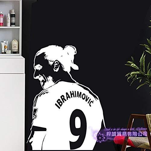 fdgdfgd Zlatan Ibrahimovic Fußballspieler Wandtattoo Kinderzimmer Poster Sportzimmer Schlafzimmer schwarzer Wandaufkleber