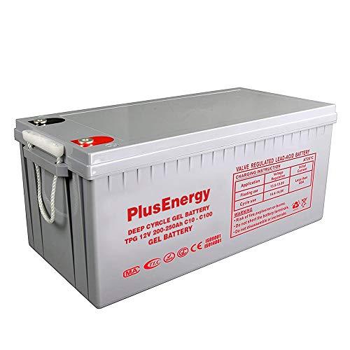 PlusEnergy Batería Solar 12v Ciclo Profundo AGM 150Ah 250Ah Gel 150Ah 250Ah Solar Fotovoltaica con terminales (250A Gel)