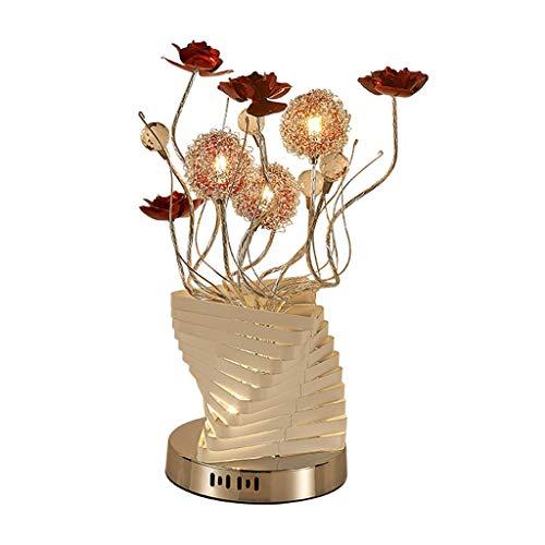 Hong Yi Fei-Shop Lampara Mesilla Dormitorio Boda lámpara de cabecera nórdica Estilo Alambre de Aluminio Lámpara de Mesa LED florero romántico lámpara de Mesa Lámpara de Mesa