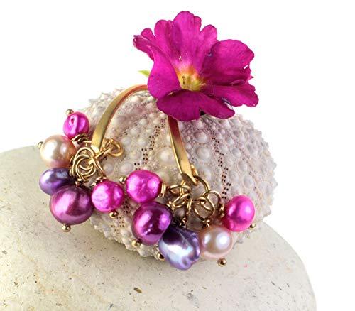Ohrringe Perlenohrhänger Süßwasserperlen vergoldet Perlenohrringe Pink Fuchsia Rosa Lila Violett Burgunder echte Perlen