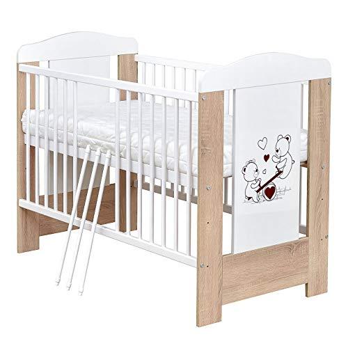 Baby Delux Babybett Kinderbett Teddy Wippe Motiv 120×60 Sonoma Eiche Weiß mit Matratze