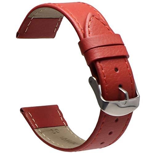 Beapet 14mm16mm18mm0mm22mm Correa Correa de Cuero y Correa de Pulsera de Las Mujeres (Color : Red, Size : 14mm)