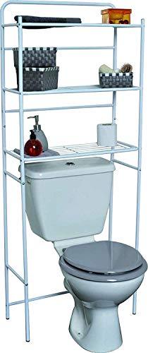 Mueble para baño WC de metal blanco con 3 estanterías