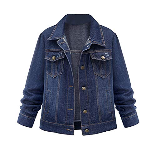 NZJK Jean jacks donkerblauw lange mouwen casual denim mantel gewassen vintage mantel knoop bovenkleding top dames jassen