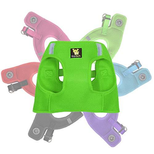 EcoBark Rapid Fastener Super Comfort Fully Adjustable Double Padded Step in Dog Harness (Medium, Green)