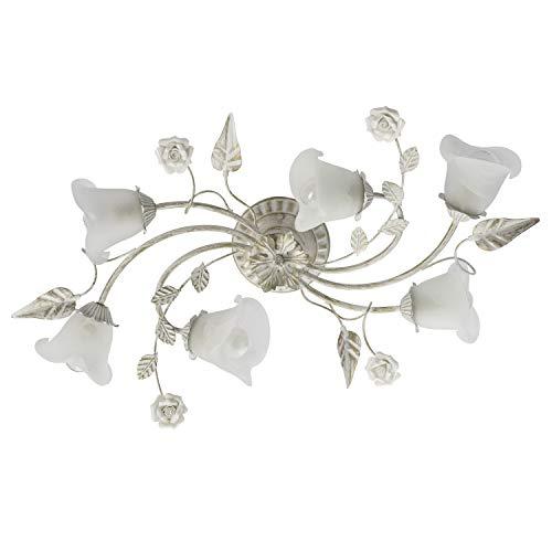 Lampada a soffitto in metallo, vetro e ceramica, a forma di fiore, 6luci diametro 77cm (escluse), 6x 60W, attacco E14,230V, colore bianco e dorato