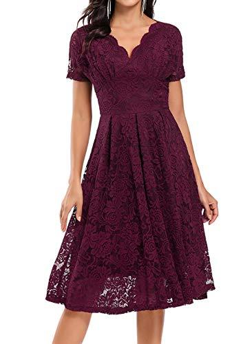 Viloree Elegante Damen Kleid Spitze Halbarme Swing Cocktailkleider Party Abschlussball Burgundy L