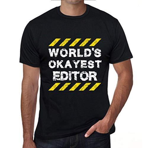 One in the City Hombre Camiseta Gráfico T-Shirt Worlds Okayest Editor Negro Profundo Texto Blanco
