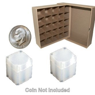 Large Dollar Coin Tube Box with 25 Square Numis Brand Coin Tubes