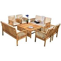 8-Piece Christopher Knight Home Carolina Acacia Wood Outdoor Sofa Seating Set