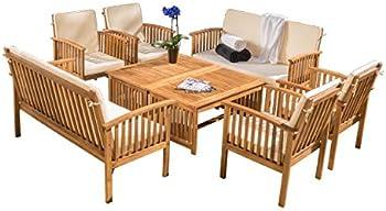 8-Piece Wood Outdoor Sofa Seating Set
