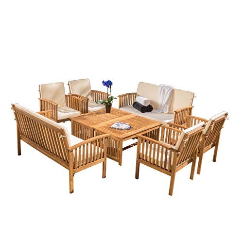 Christopher Knight Home Carolina Acacia Wood Outdoor Sofa Seating 8-Pcs Set in Brown Patina