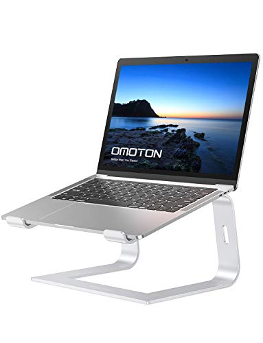 OMOTON Laptop Stand Ergonomic Notebook Stand, Desktop Ventilated PC Riser, Laptop Holder for MacBook Pro/Air, HP, Dell, Lenovo, Samsung, Acer, HUAWEI MateBook and More (10-15.6in), Silver