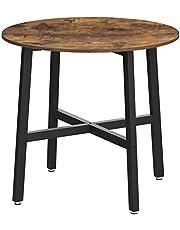 VASAGLE stół do jadalni mały, okrągły stół kuchenny, do salonu, biura, 80 x 75 cm (Ø x H), wzornictwo przemysłowe, vintage brązowo-czarny KDT080B01