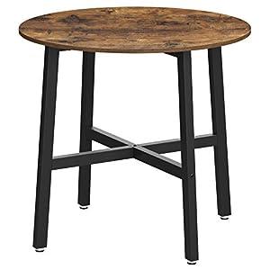 VASAGLE Mesa de Comedor, Mesa de Cocina Redonda, para Sala de Estar, Oficina, 80 x 75 cm (Diámetro x Altura), Estilo Industrial, Marrón Rústico y Negro KDT080B01