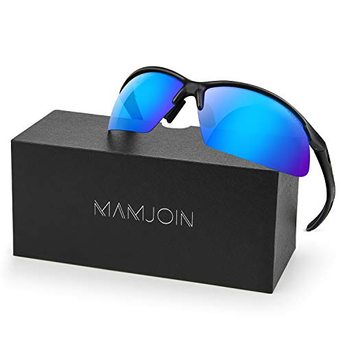 Mamjoin Polarized Sports Sunglasses for Men Women UV400 Protection Sunglasses for Cycling Running Driving Fishing Golf Baseball Outdoor Sports
