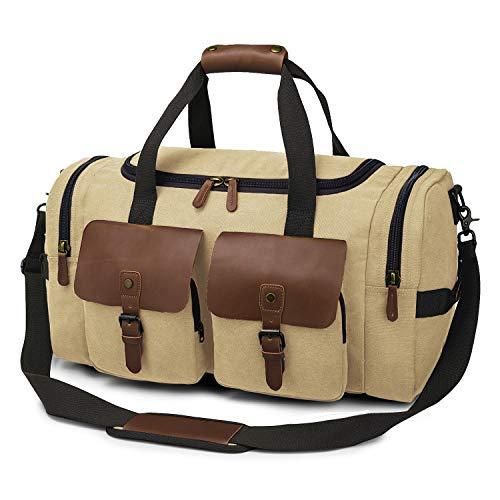 TAK Vintage Reisetasche Weekender Duffle Bag Wochenend Tasche Handgepäck Weekend Tasche Umhängetasche aus Canvas Leder mit Schuhfach, für Herren Damen lässigen Reisen Gym Urlaub, 40 L,Braun